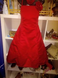VINTAGE 1980'S  RED SATIN DRESS