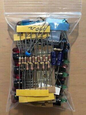 Mixed Lot Grab Bag Electronic Components Caps Resistors Ic Switch Led No Pulls