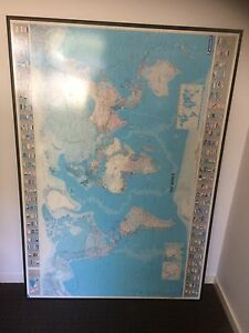 Large world map with country flags poster board Highland Park Gold Coast City Preview