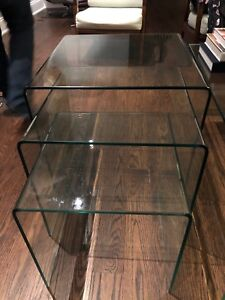 Tempered glass nesting tables.