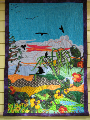 """New Hanging Quilt, Original,Colorful Landscape with Ravens and Flowers 32"""" x 45"""""""