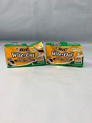 2 Pack Bic Wite-out Extra Coverage Correction Fluid 20 Ml White 3 Per Pack
