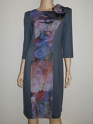 Elegantes Designer Kleid Knielang Jerseykleid  Mehrfarbig Edel Gr. 40