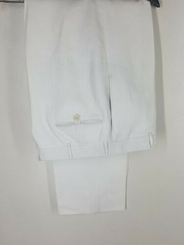 """Polo by Ralph Lauren Vintage 100% Linen Flat Front Pants Made In Italy 33"""" x 32"""""""