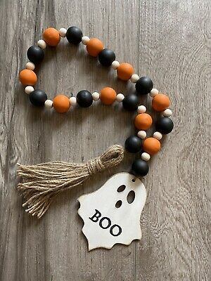 Handmade Wood Bead Garland with Tassel & Ghost Orange & Black Halloween Fall