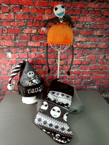NWOT lot of 3 NIGHTMARE BEFORE CHRISTMAS stocking & hat - NEW