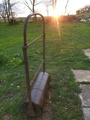Vintage cast iron garden roller architectural Antique wrought old barn find