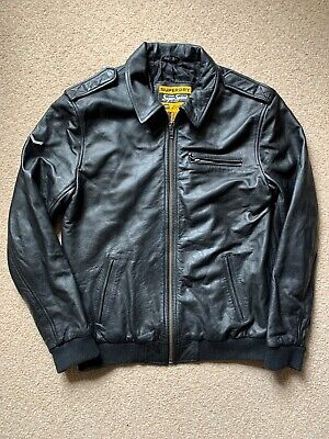 Superdry Super Speed leather jacket X-Large Black Great Condition