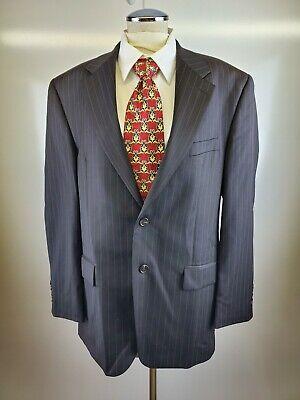Chaps Mens 40 R Black Pinstripe Suit Jacket Sports Coat 100% Wool EUC