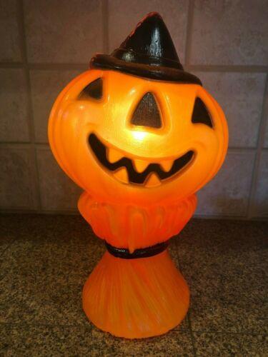 """Vtg 1969 Empire Halloween Blow Mold Lighted Pumpkin 14"""""""
