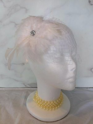 VINTAGE Bridal Hair Grip Headband WHITE Feather FLOWER Veil HALLOWEEN COSTUME UK ()
