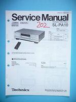 Manual De Servicio Para Technics Sl-pa10 Reproductor De Cd, Original -  - ebay.es