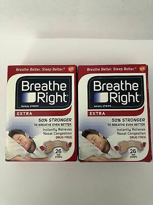 LOT OF TWO - Breathe Right Nasal Strips 52 Extra Tan Strips  Breathe Right Nasal Strips
