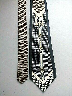 Men's 1920s Style Ties, Neck Ties & Bowties Men's Vintage Pierre Cardin MCM Silk Tie Swing MOB Black Silver Loud 1920's Vibe $59.99 AT vintagedancer.com