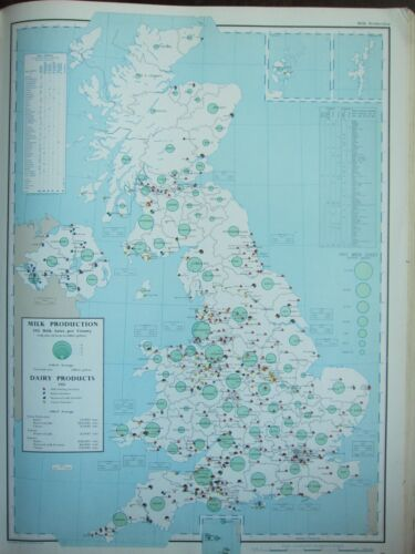 VINTAGE LARGE MAP of BRITAIN MILK PRODUCTION DAIRY PRODUCTS FACTORIES