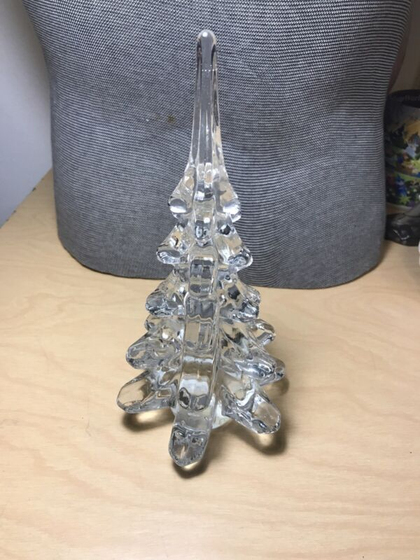 """crystal glass Christmas Tree 8.5"""" tall decoration excellent Vintage Glass"""