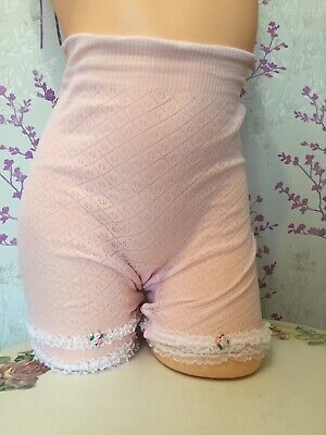 Vintage Knickers 60s Lingerie Pink Stretch Nylon Women's Bloomer Briefs 14-16
