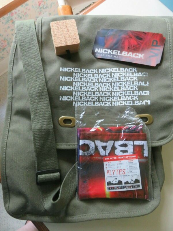 Nickelback Feed the Machine VIP Messenger Bag w/ Guitar Picks, Ticket, & Flytes
