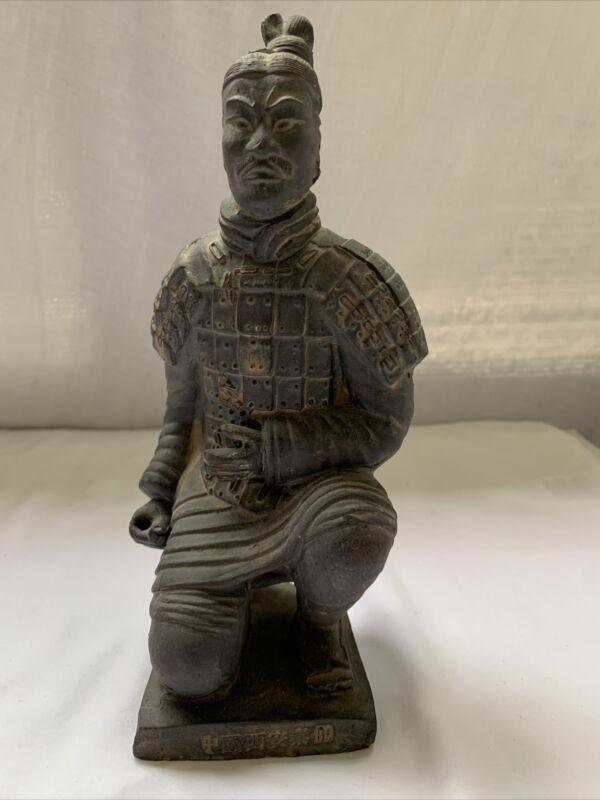 "Vintage Chinese Terra Cotta Clay Warrior Soldier Replica Figurine Statue 9.25"""