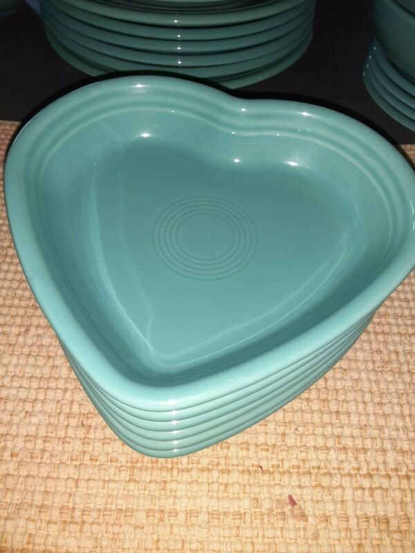 Homer Laughlin Fiesta Heart Dish Dessert Dish Turquoise NWOT