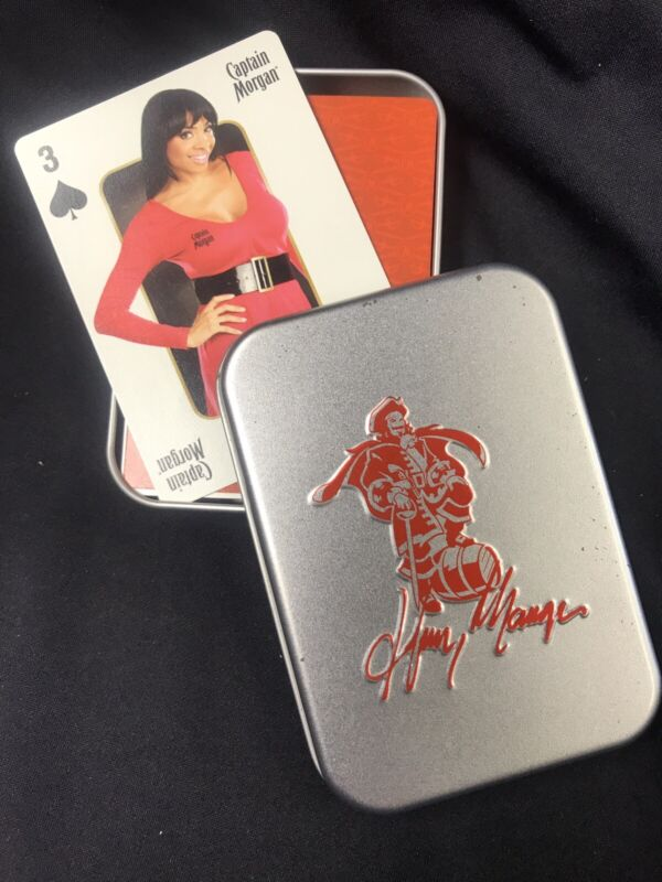 """Captain Morgan Rum """"Captain's Girl's"""" Playing Cards 2010 W/ Metal Storage Case"""