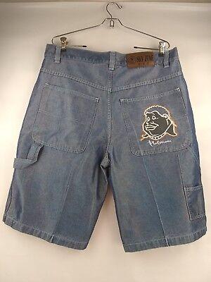 Sky Zone Mens Shiny Blue Embroidered Back Pocket Denim Short Size 38 X 13