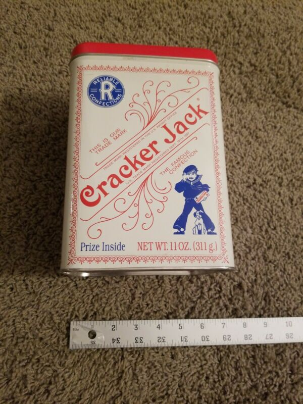 """Vintage Rectangular Cracker Jack Tin 9"""" Tall Empty"""