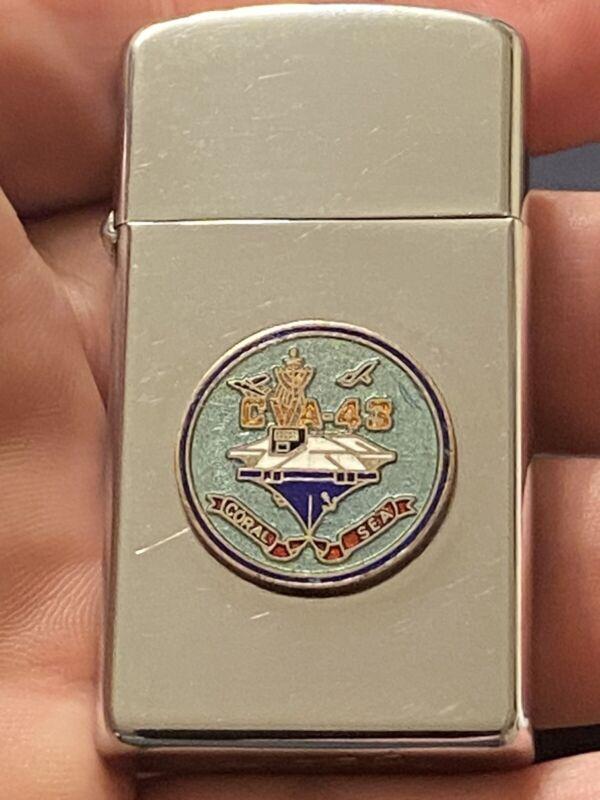 Vintage Zippo Slim Lighter, 1963: Super Nice Condition. USS CORAL SEA Military