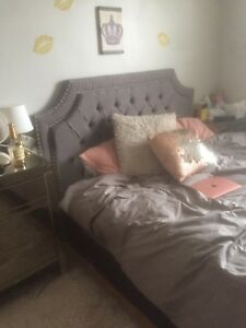 New grey tufted queen headboard