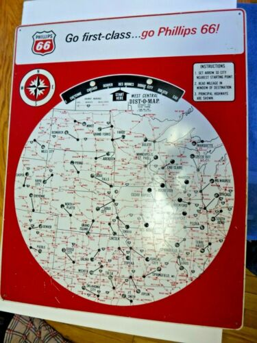 "Original 1964 Phillips 66 "" Dist-O-Map "" Mileage Computer Advertising Sign ! !"