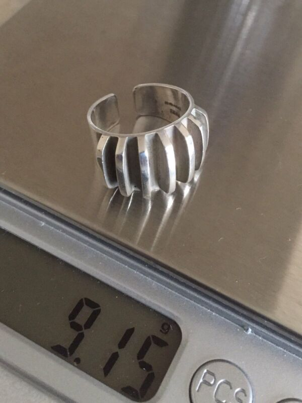 """Anna Greta Eker Vintage Norway 1960's Solid Sterling Silver """"Riged"""" Ring Size N"""