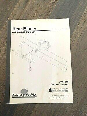 Land Pride Rbt1560 Rbt1572 Rbt1584 Rear Blade Operators Manual 301-144m