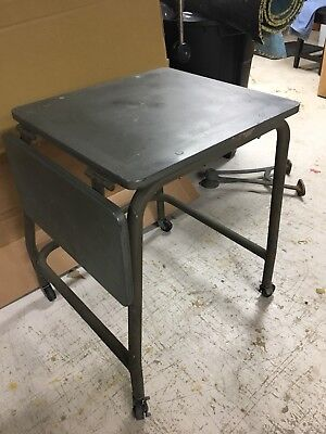 Vintage Melink Steel Safe Company Iron Legs Stand Bench Table Industrial