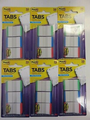 Post-it Durable Tabs 1 X1.5 Greenbluered 686lgbrt 36ct X 6 Packages 216 Tabs