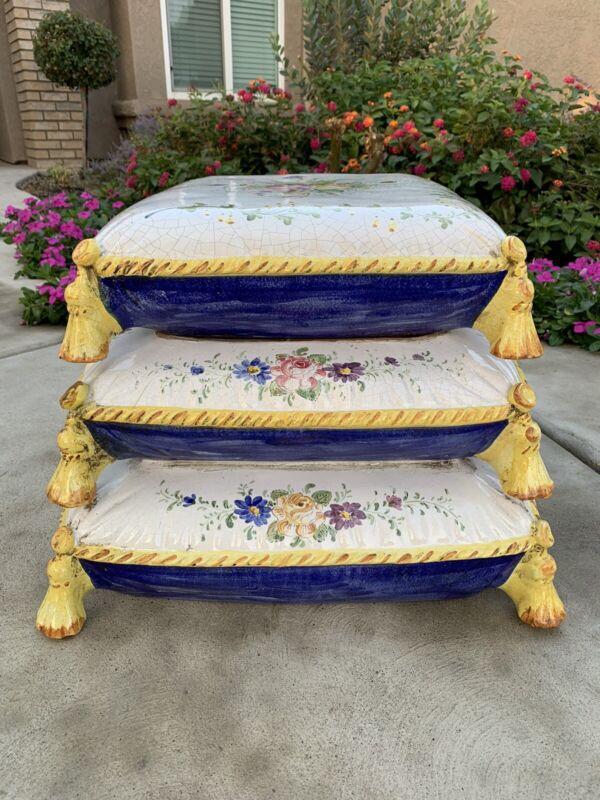 Vintage Italian Ceramic Garden Stool W/ Floral Stacked Cushions & Tassles