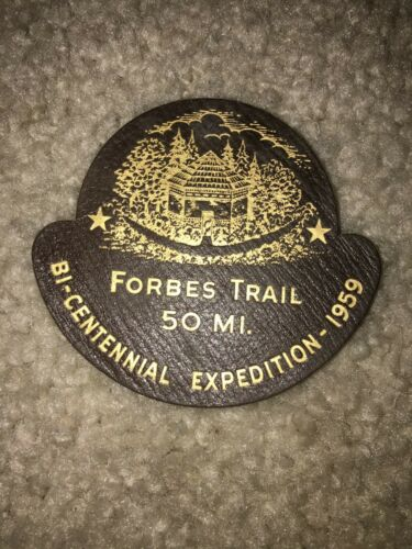 Boy Scout BSA Forbes Fort Ligonier to Pitt Pennsylvania 1959 Leather Trail Patch