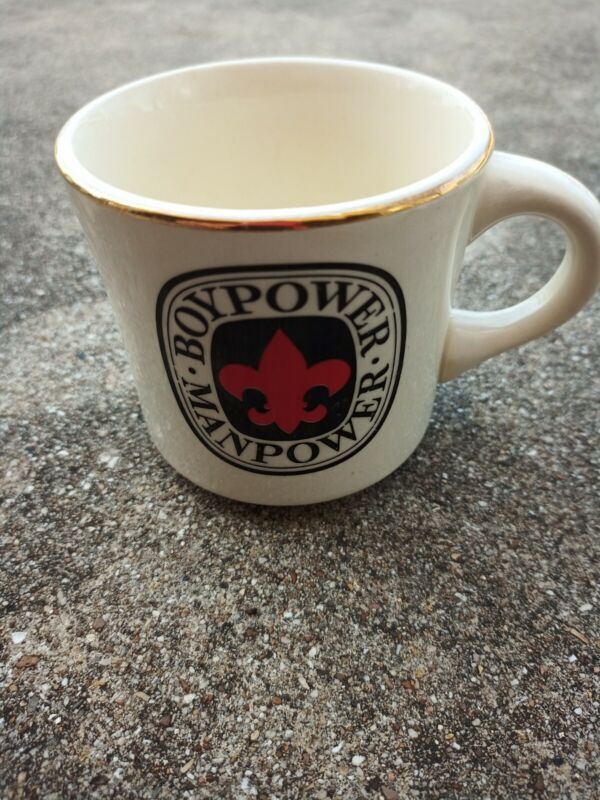 Vintage BoyPower Manpower BSA Gold Rim Boy Scouts of America Coffee Mug Cup USA