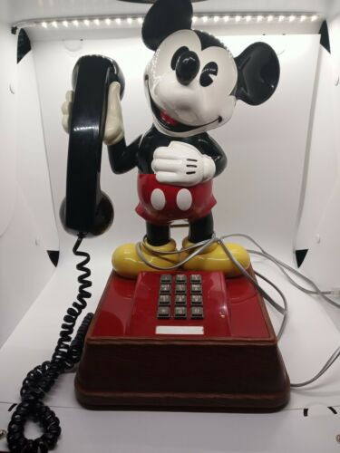 "1990 Vintage Mickey Mouse Phone Push Button Landline Telephone Disney 15"" Tested"