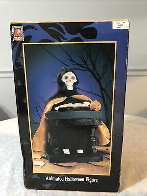 Vtg Halloween 1995 Gemmy Animated Grim Reaper Playing at His Organ Decor w Box