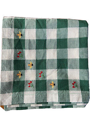 """Tablecloth Gingham Check Embroidered Cotton Bees Fruit Square 50"""" green woven"""