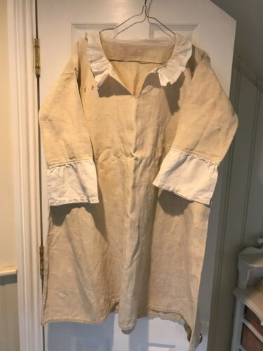 Antique linen smock shirt with cotton frill collar