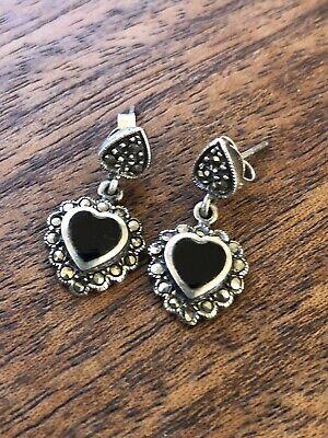 1920s Art Deco Jewelry: Earrings, Necklaces, Brooch, Bracelets Vintage Art Deco Style  925  Sterling Silver Marcasite Onyx Heart Drop Earrings $32.50 AT vintagedancer.com