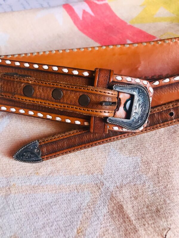 Vintage Hand Tooled Leather Sterling Silver Buckle Western Belt made in Texas! M