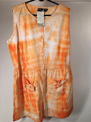 Vintage 80's Orange Tie Dye Romper One Piece Shorts 22