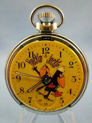 VINTAGE 1960's ** HECKLE and JECKLE ** CHARACTER ADVERTISING POCKET WATCH ~RARE~