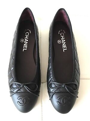 $795 CHANEL CLASSIC QUILTED BLACK CALFSKIN LEATHER BALLET FLATS 39