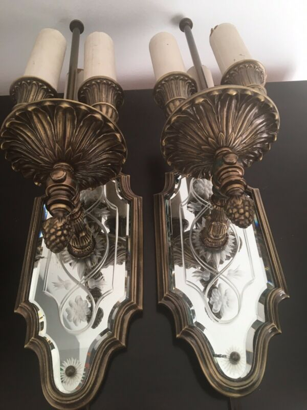 Pair Antique Art Deco Brass Or Bronze Sconces  w/ Beveled Glass Etched Mirror
