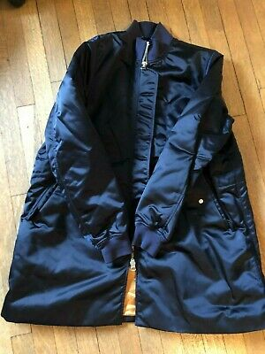Acne Studios Aude Shiny Long Bomber Jacket Size 38 Navy Orange