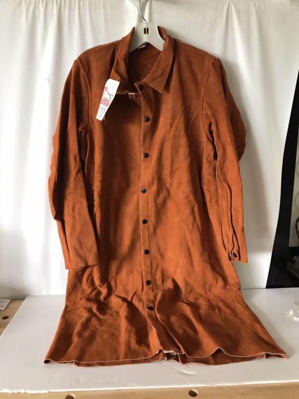 Red Ram Leather Welding LONG Shirt Jacket Orange Suede Snap Closure Medium RR33