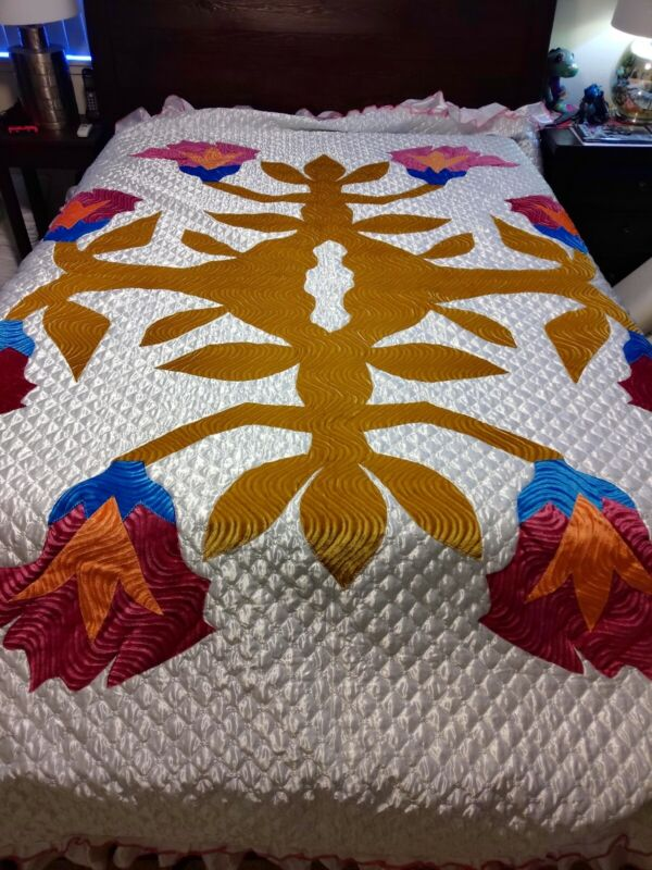 Hawaiian Applique Satin Bedspread Blanket Comforter Hollywood Regency King Size